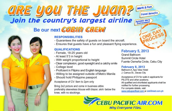 Cebu Pacific Air Job Hiring of Cabin Crew, Pilots and other Personnel 2013