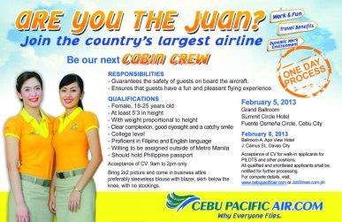 Cebu Pacific Job Hiring of Female Cabin Crew and Pilots