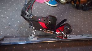 Binding in uphill touring mode with the supporting heel lift extended