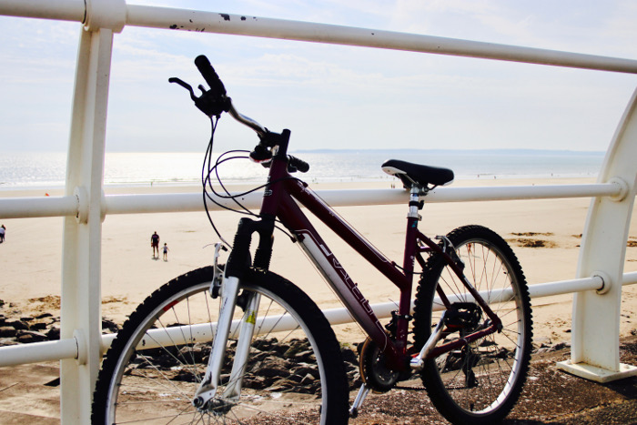 Aberavon Beach cycle on railings View
