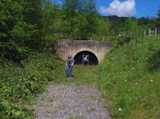 Railway tunnel approach after