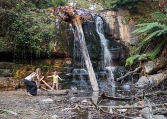 Posing at the waterfall