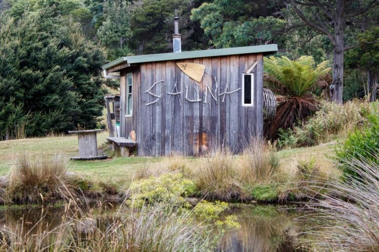 Rustic wooden sauna