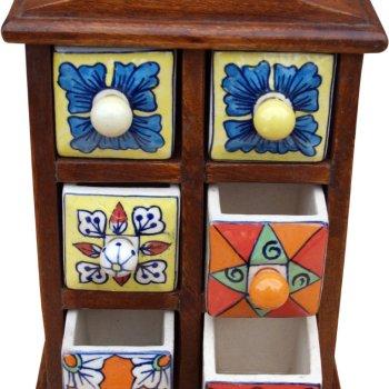 Apothekerschränkchen mit 6 Schubladen aus Keramik kaufen