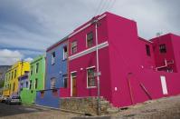 Viele bunte Häuser in Bo Kaap, dem Malaienviertel von Kapstadt.