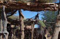 Werterhaltung im Damara-Dorf: Hier werden die Dächer der Hütten erneuert.