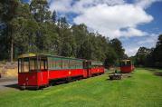 Die Trambahn in Pemperton ist auf einer alten Holzbahnstrecke unterwegs...