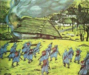 Kuk-Infanterie greift Dorf in Serbien an