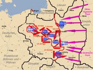 Karte Polenfeldzuges vom 16. bis 20. September 1939