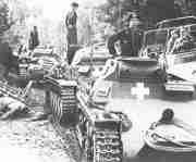 Deutsche Panzer nach den ersten Grenzkämpfen in Polen