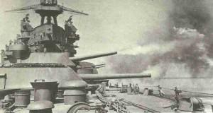 USS Pennsylvania beschiesst Leyte