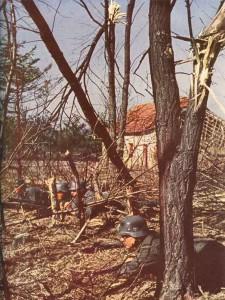 Deutsche Infanterie an der französischen Grenze