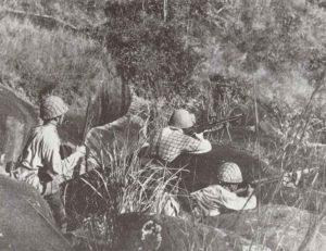 Japanische Infanterie im Gefecht in Süd-China