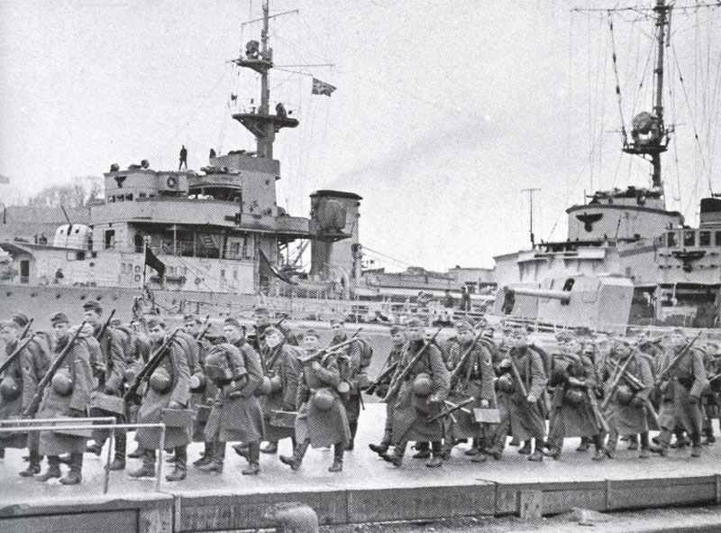 Einschiffung deutscher Truppen für das Unternehmen 'Weserübung'