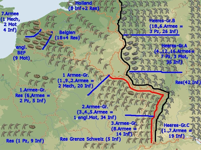 Westfront 1 Weltkrieg Karte.Wehrmacht Kriegsgliederung Westfeldzug Mai 1940 Weltkrieg