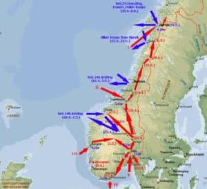 Karte der deutschen Invasion von Norwegen