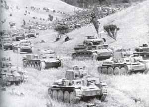 deutsche Panzerdivision auf ihrem Vormarsch nach Frankreich