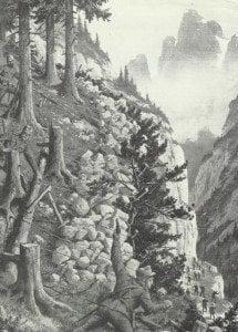 Steinlawine auf Alpini