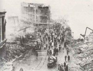 Innenstadt von Coventry nach Luftangriff