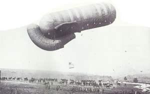 Fesselballon bei der Landung