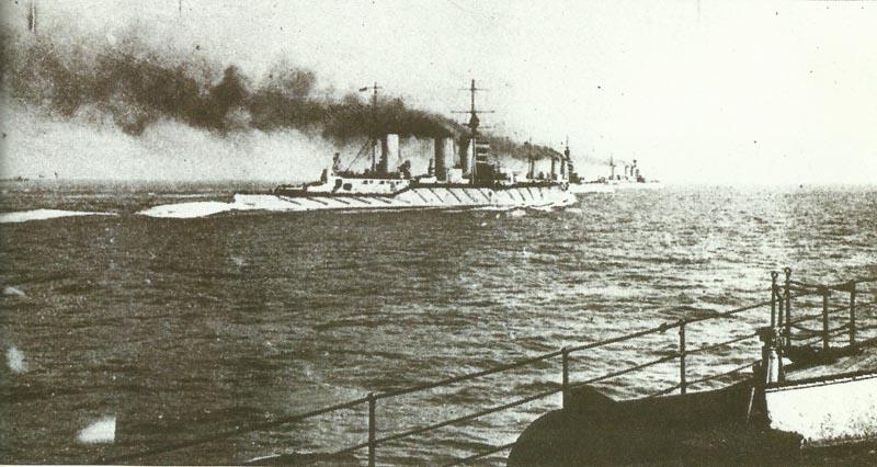 Schlachtkreuzer der 'Lion'-Klasse auf See vor der Schlacht von Jütland