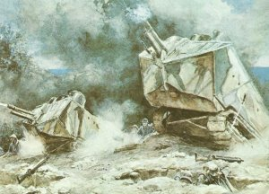 Angriff französischer Truppen mit der Unterstützung durch St.Chamond-Panzern