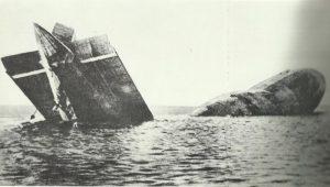Abgestürztes deutsches Luftschiff in der Nordsee