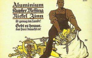Plakat zum Abliefern von Metallgegenständen
