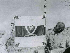 italienischer Flaggenträger in der Nähe von Gondar