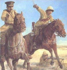 Britische Kavallerie attackiert