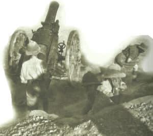 Britische Haubitze auf der Sinai-Halbinsel im Einsatz