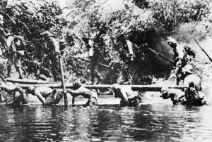 'lebende' Brücke über einen Fluss