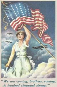 Britische Postkarte US-Kriegseintritt