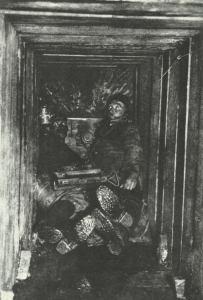 Horchposten in einem Stollen