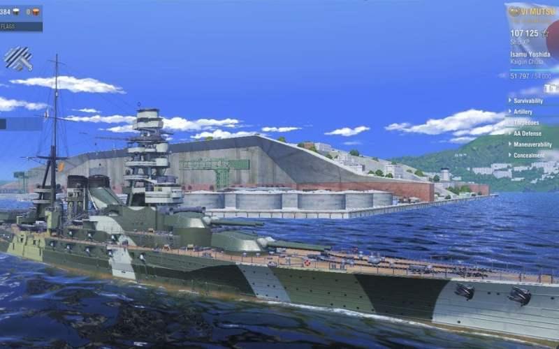 Schlachtschiff Mutsu in WoWs