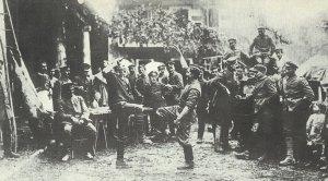 Bayrische Soldaten hinter der italienischen Front