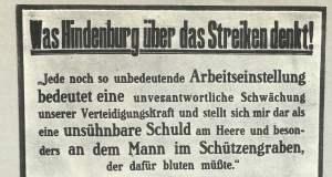Plakat des Kriegsamtes gegen Streiks.