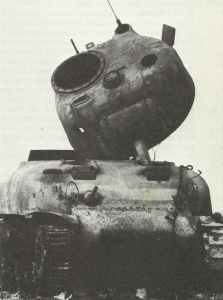 Zerstörter US-Kampfpanzer vom Typ M4 Sherman