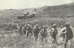 Britische Infanterie marschiert