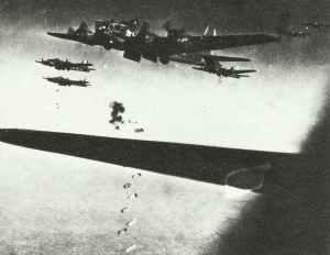 B-17 Fliegende Festung beim Bombenabwurf.