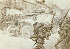 französischer Panzerwagen überrascht eine deutsche Infanterie