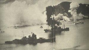 Japanische Schiffe in Rabaul unter Luftangriff