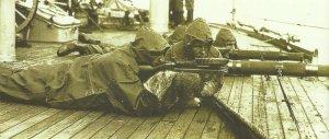 Amerikanische Soldaten an Bprd eines Kreuzers nach Archangelsk