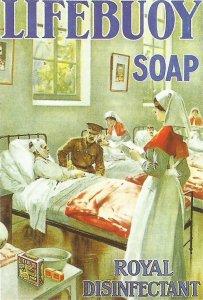 Englische Seifen-Werbung zur Desinfekton
