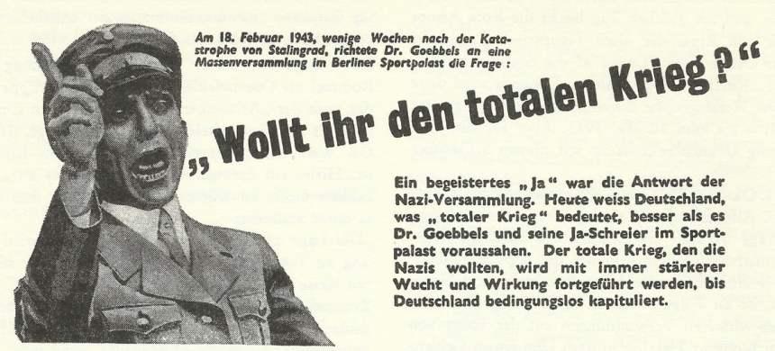 Goebbels 'Wollt Ihr den Totalen Krieg ?'