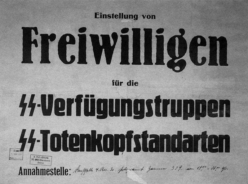 Hinweisplakat für Freiwillige für die SS-Verbände