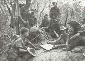 Gruppe britischer Soldaten von Slims 14. Armee in Burma