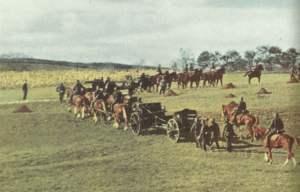 Bespannte Artillerie einer deutschen Infanterie-Division