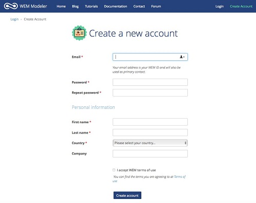 Create new WEM account