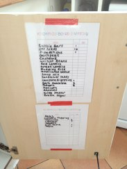 Inventory lists taped to inside cabinet doors